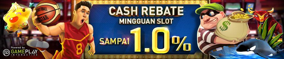 Bonus Cash Rebate Mingguan Slot